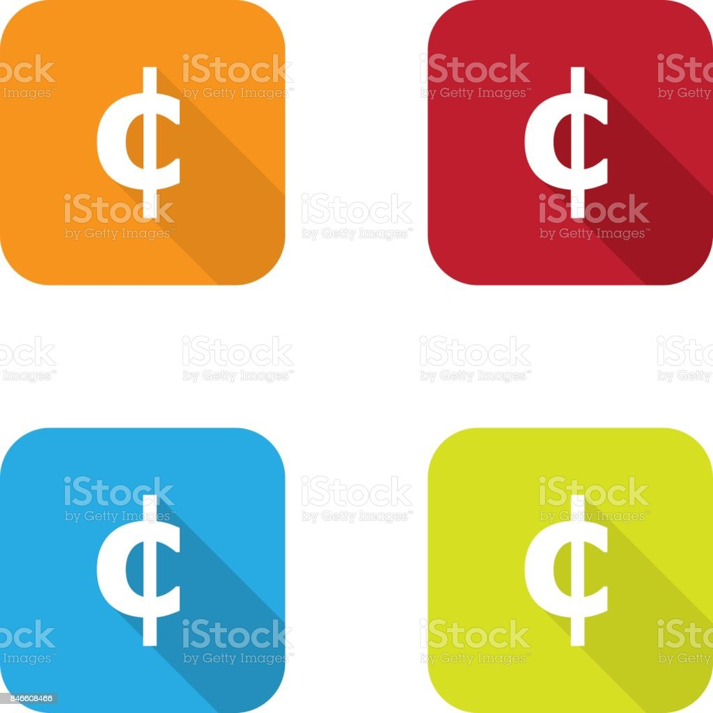 Colorful Flat Cent Symbol Icons With Long Shadow Stock Vector Art