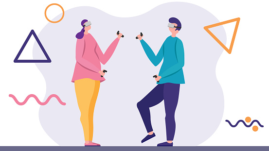 Colorful flat characters are experiencing virtual reality with headset