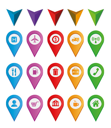 Colorful flat design map pin icon set with attractions and national park points. Map pointers thin line vector stock illustration. Icon set contains of symbols of airport, restaurant, bank, hospital, café, shopping center, phone booth, Wi-Fi hotspot etc.