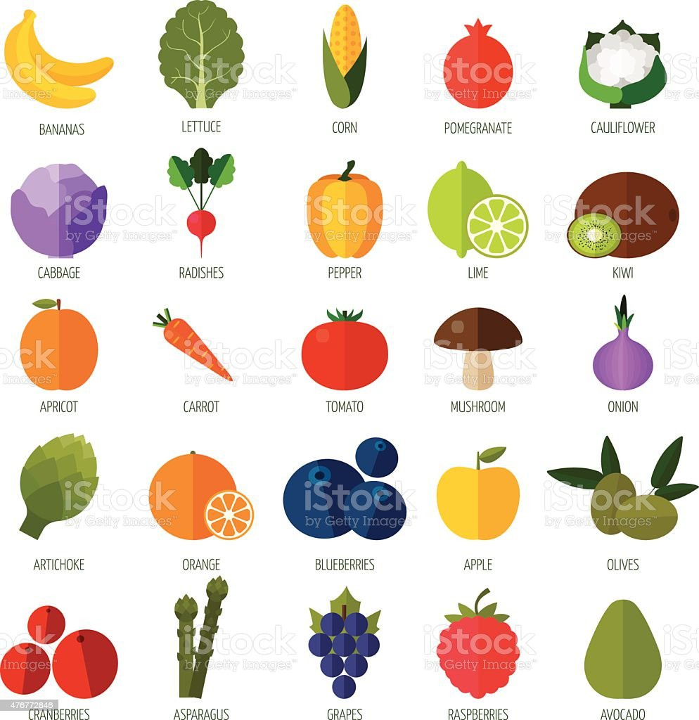 Colorful flat fruits and vegetables icons set. vector art illustration