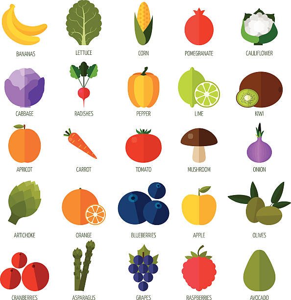 Colorful flat fruits and vegetables icons set. Colorful flat fruits and vegetables icons set. Template for cooking, restaurant menu and vegetarian food artichoke stock illustrations