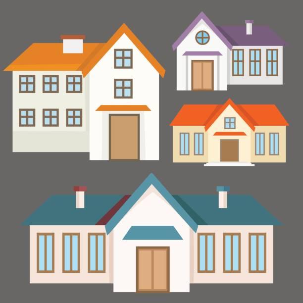 illustrations, cliparts, dessins animés et icônes de collection de maisons colorées de plat - gériatrie