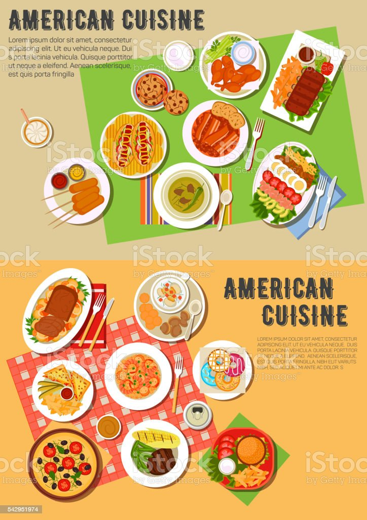 Colorful flat icon of american barbecue dinner vector art illustration