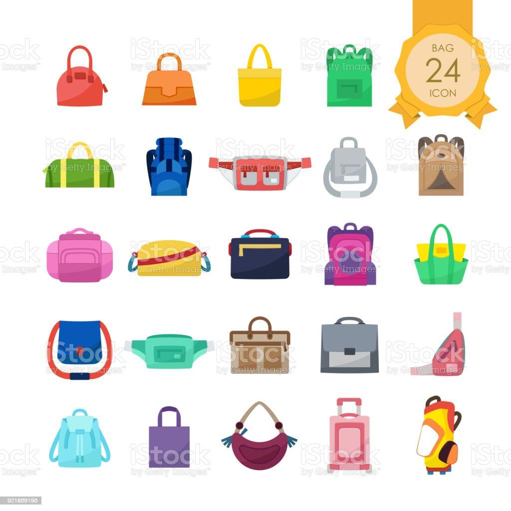 d344db350 Iconos de colores planos conjunto de bolsas para sitio web aislado sobre  fondo blanco, ilustración