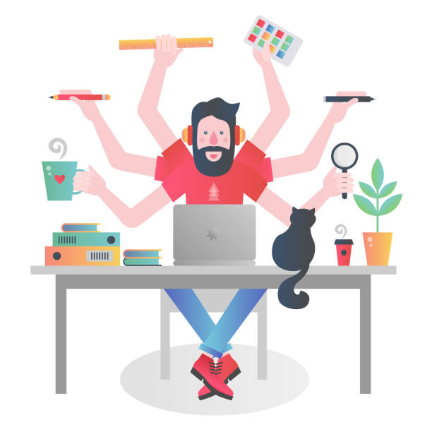 Colorful flat modern gradient character of man with many hands holding different things and managing time while working at table with laptop. Colorful character of man with many hands holding different things and managing time while working at table with laptop busy stock illustrations