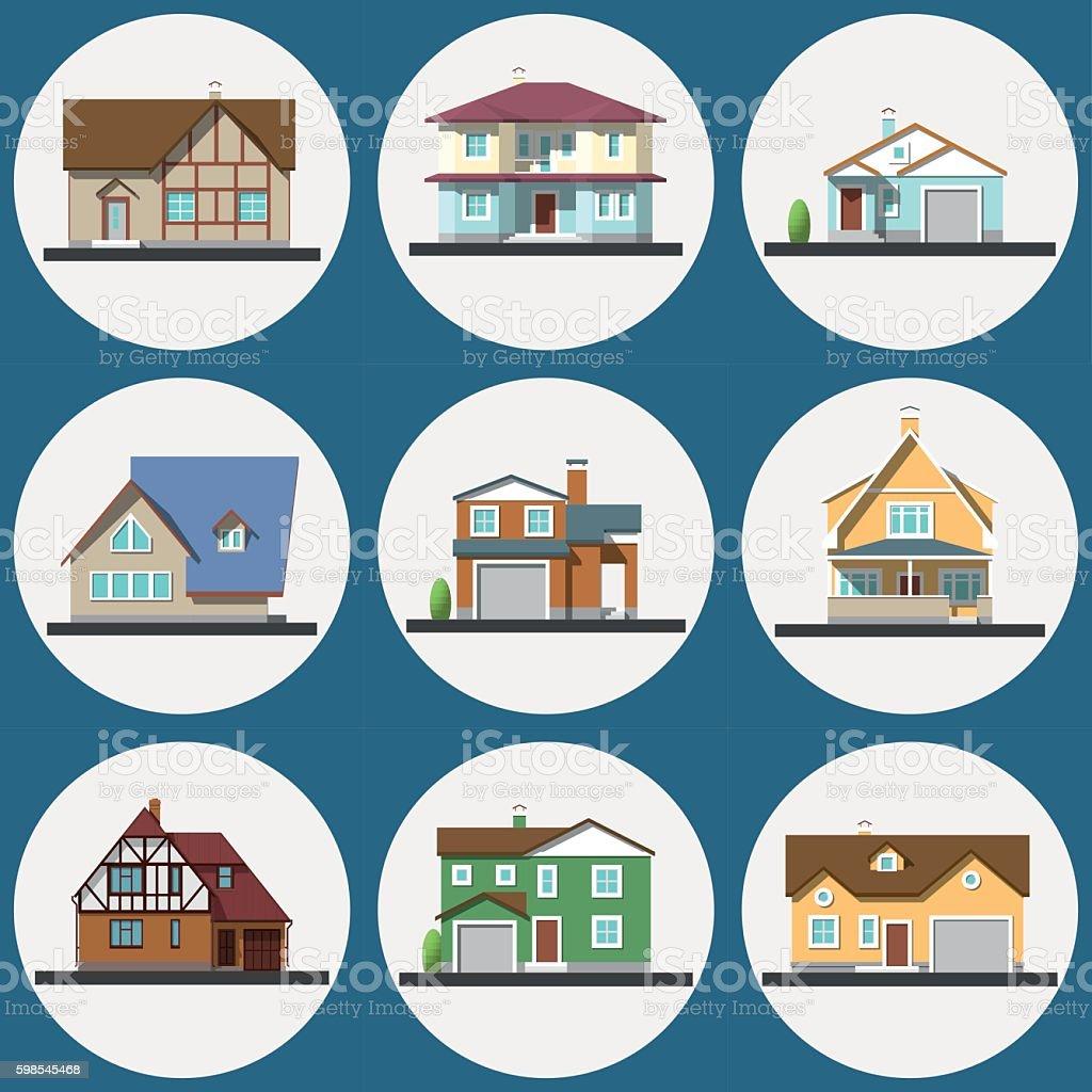 Colorful Flat Residential Houses set colorful flat residential houses set – cliparts vectoriels et plus d'images de appartement libre de droits