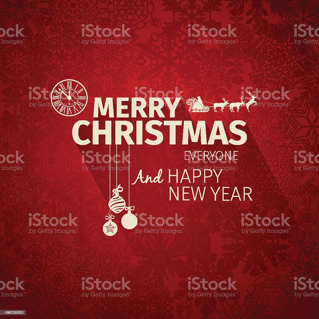 Colorful Flat Trendy Christmas Card And New Year Greetings Stock