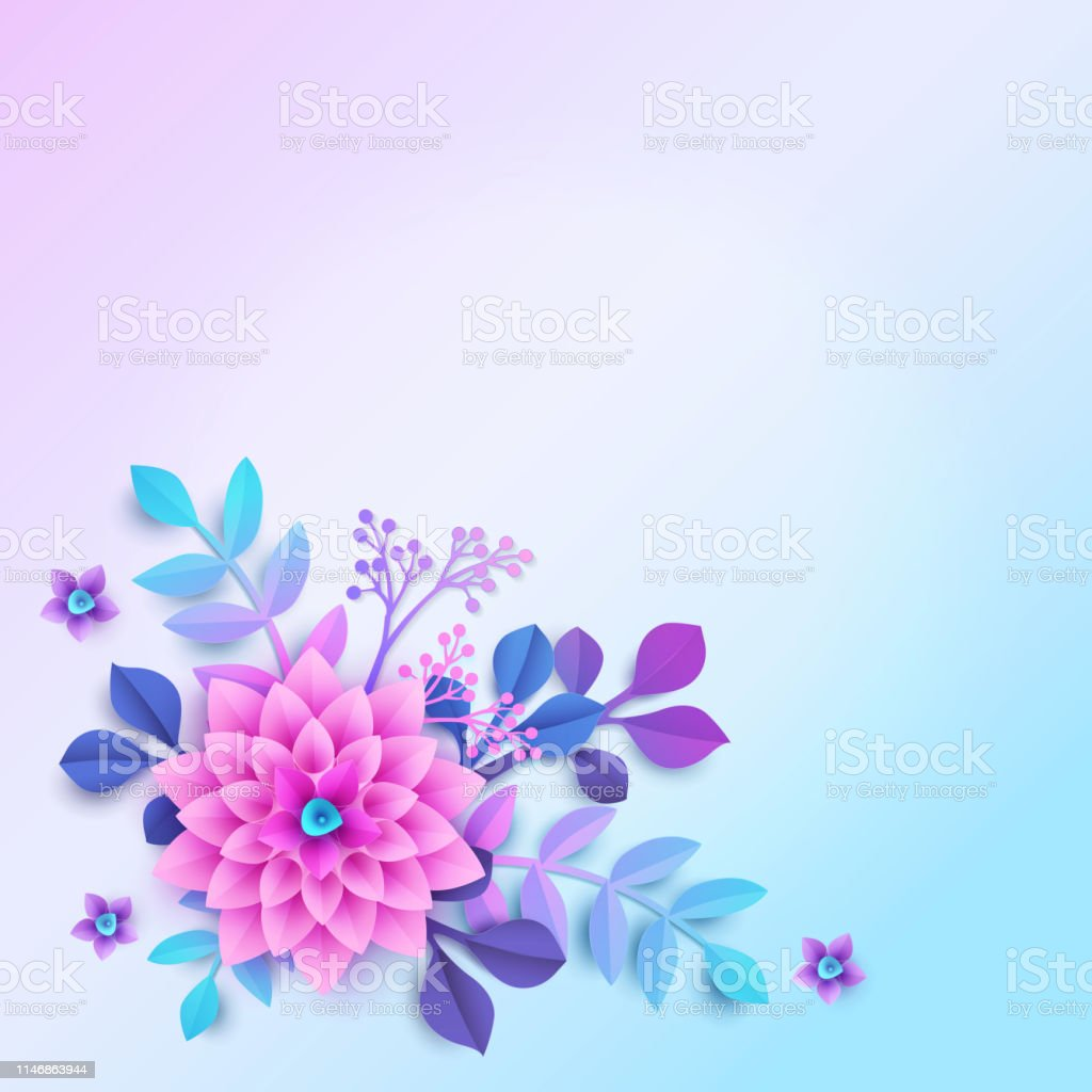 Colorful Floral Background In Modern Paper Cutting Style Corner