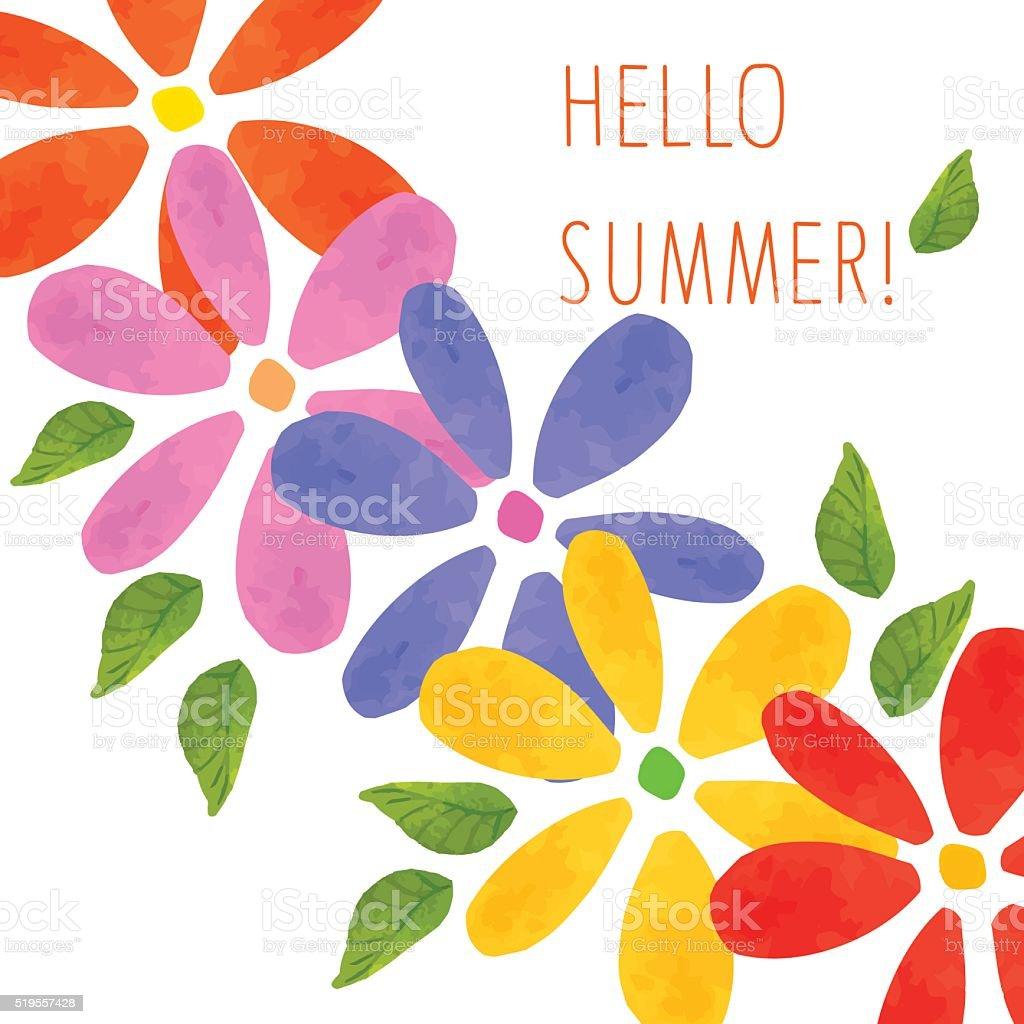ilustração de cartão com flores coloridas folhas e flores desenho