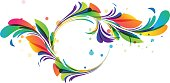Colorful floral circle framing on white background