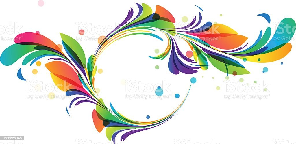 Colorful floral circle framing vector art illustration
