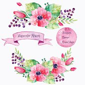 Colorful floral collection with leaves and flowers,drawing watercolor