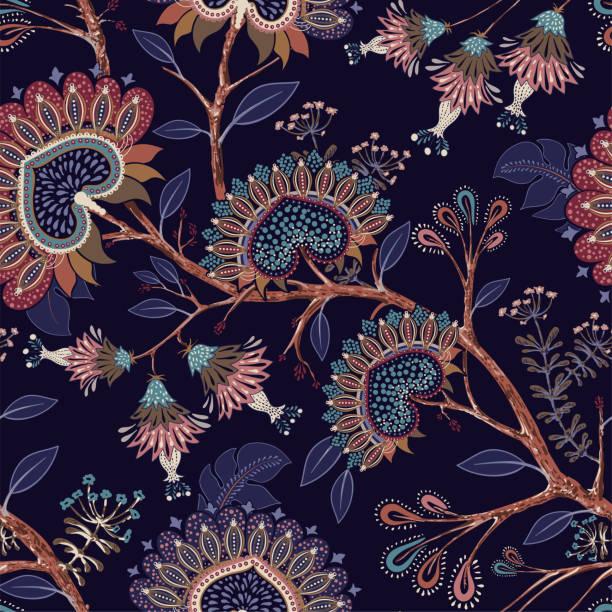 ilustrações de stock, clip art, desenhos animados e ícones de colorful floral decorative pattern. vector indonesian floral batik. vector indian background. stylized flowers and shapes on the dark backdrop. design for fabric, carpet, cover, textile, pillow - indonésia
