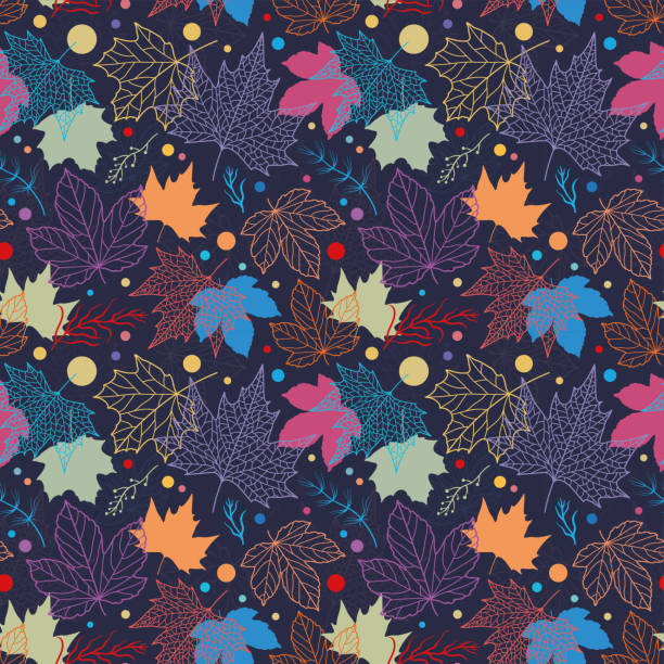Colorful floral leaves seamless pattern, hand drawn maple leaves, creative line art background, great for fall seasonal fabric fashion prints, autumn banners, wallpapers - vector surface design vector art illustration