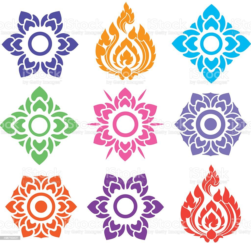 colorful floral of Thai pattern vector art illustration