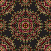 Seamless vector background. The pattern with floral simple mandalas. Oriental colorful ornament. Template for textile, carpet.