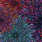 Colorful floral patchwork background. Mandala boho chic style.