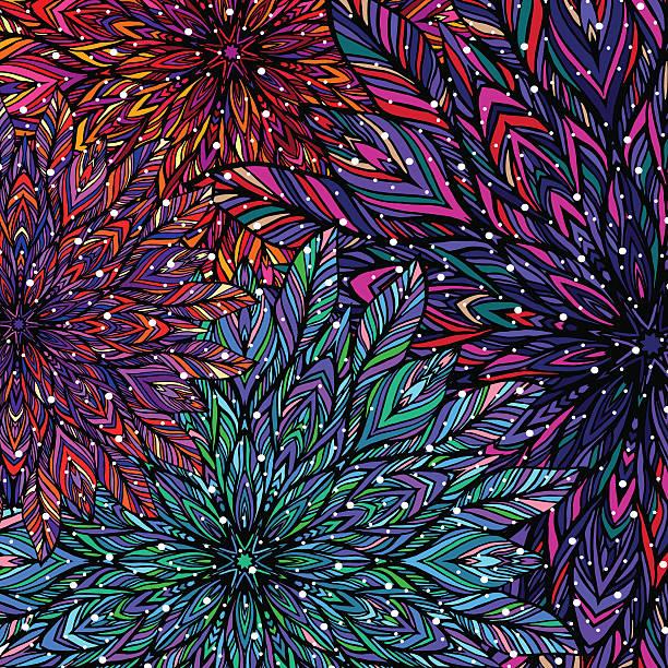 colorful floral patchwork background. mandala boho chic style. - bohemian fashion stock illustrations, clip art, cartoons, & icons