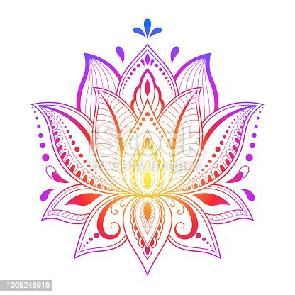 Colorful floral pattern for Mehndi and Henna drawing. Hand-draw lotus symbol. Decoration in ethnic oriental, Indian style.