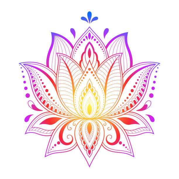 ilustrações, clipart, desenhos animados e ícones de teste padrão floral colorido para desenho de mehndi e henna. símbolo do lótus de mão para desenhar. decoração em estilo étnico oriental, indiano. - lotus