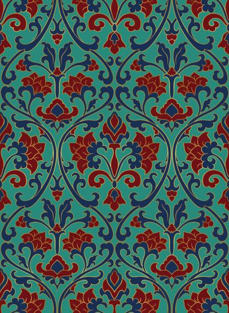 Colorful floral pattern. Pattern with ornamental flowers. Red and turquoise filigree ornament. Colorful template for wallpaper, textile, shawl, carpet and any surface. tapestry stock illustrations