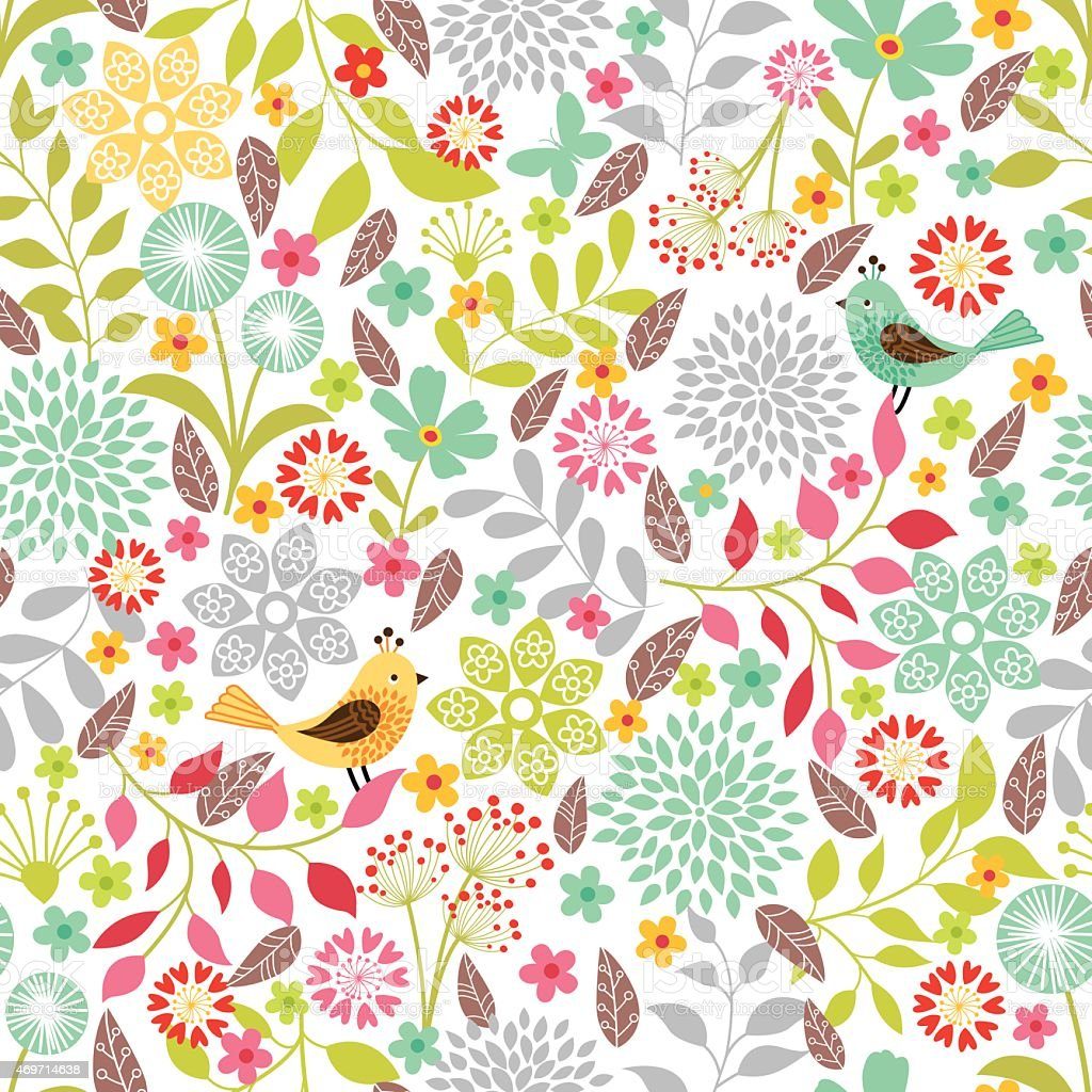 Colorful floral pattern with yellow and green birds vector art illustration