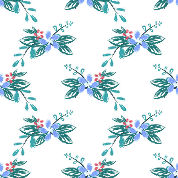 bildbanksillustrationer, clip art samt tecknat material och ikoner med färgglada blomma blommig sömlös mönster bakgrund handritad stil. naturlig ritning för mode textil tryck. - swedish nature