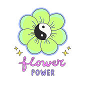Colorful Flower Power lettering with 60s hippie style ying-yang daisy flower
