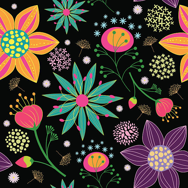 Colorful Flower Seamless Pattern Background vector art illustration