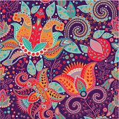 Colorful flower vector pattern. Vector wallpaper
