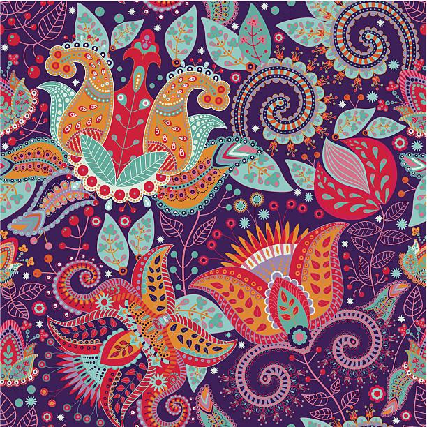 stockillustraties, clipart, cartoons en iconen met colorful flower vector pattern - batik