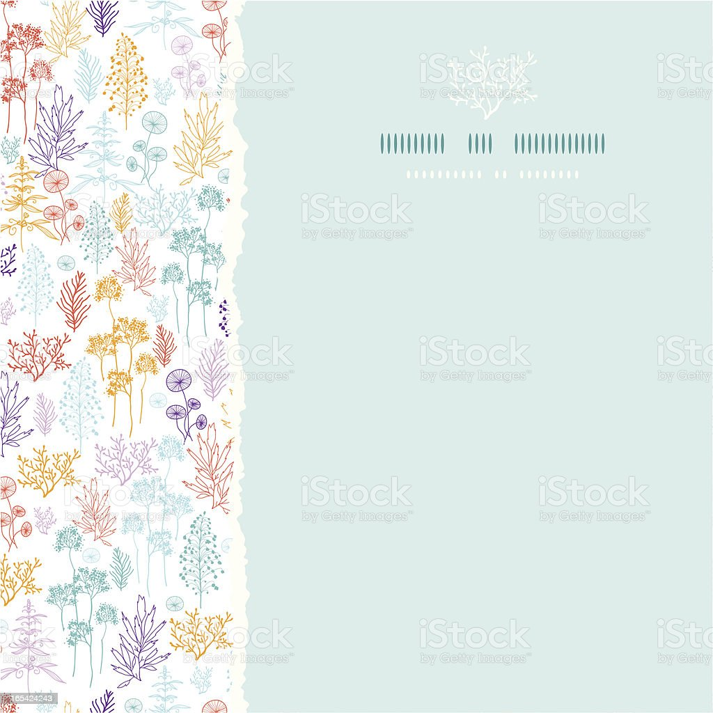 Colorful flowers and plants square torn seamless pattern background royalty-free stock vector art