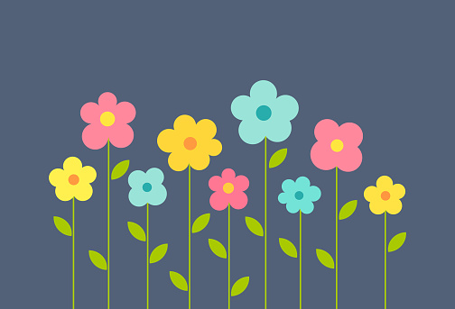Colorful flowers background. Cute summer flowers growing in the garden. Vector illustration.