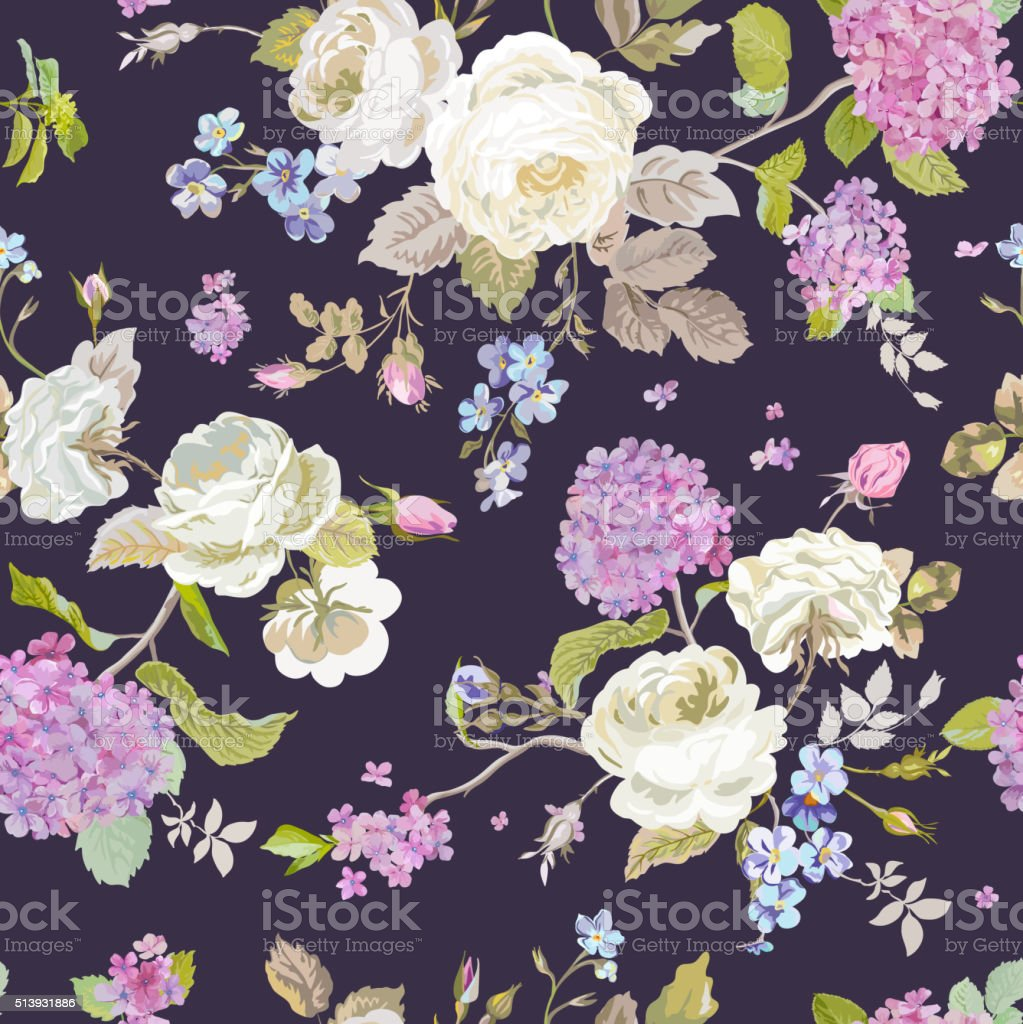Colorful Flowers Background Seamless Floral Shabby Chic