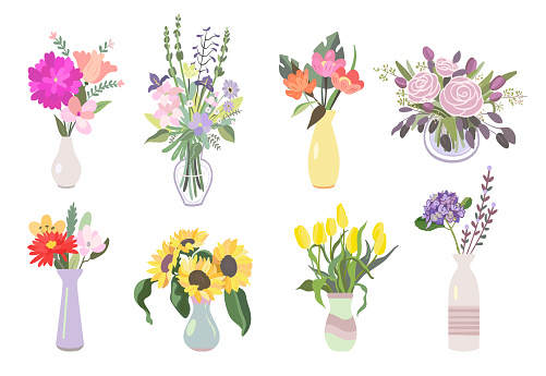 Colorful flowers flat icon pack
