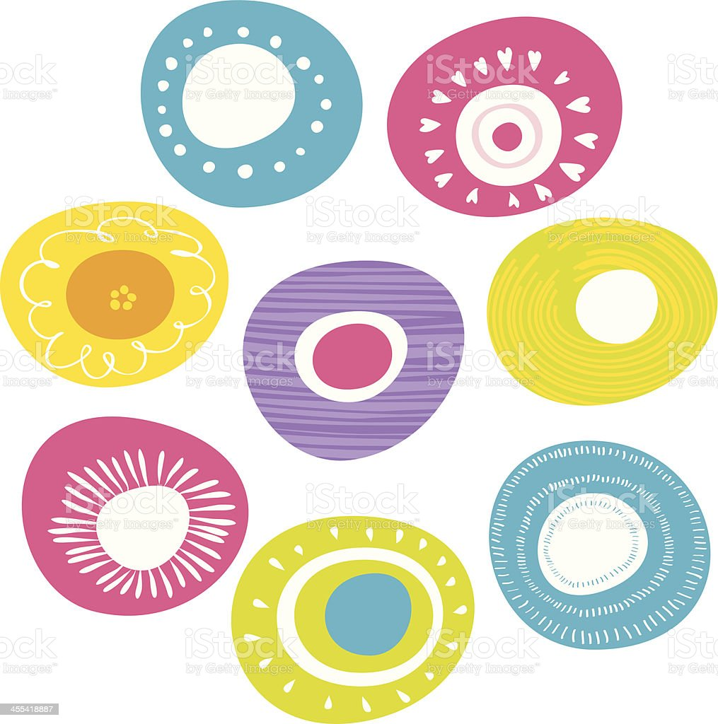 Colorful flowers icon set vector art illustration
