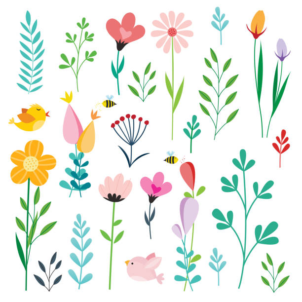 Colorful flowers icons Colorful flowers icons flower stock illustrations
