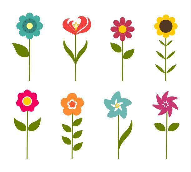 Colorful flowers icons Colorful flowers icons. Vector illustration plant stem stock illustrations