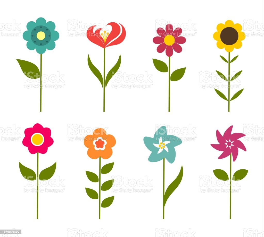 Colorful flowers icons vector art illustration