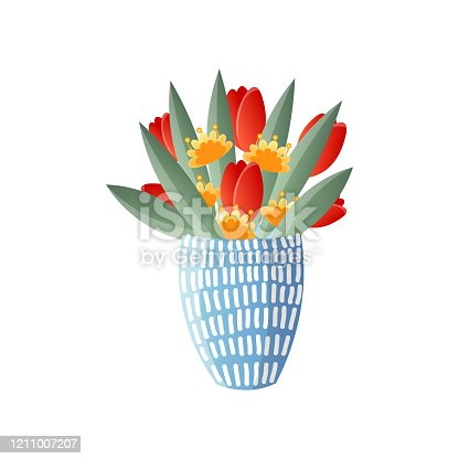 istock Colorful flowers in blue vase isolated on white background 1211007207