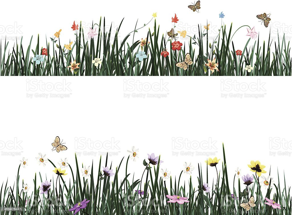 Colorful flowers in long grass royalty-free stock vector art