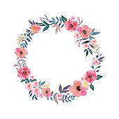 Colorful flowers wreath . Elegant floral collection with beautiful flowers and leaves, hand drawn vector. Design for invitation, wedding or greeting cards.