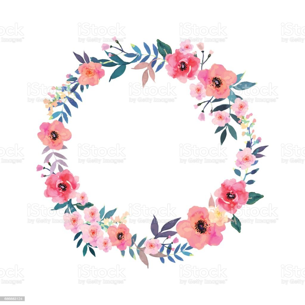 Bunte Blumen-Kranz. Elegante florale Kollektion mit schö – Vektorgrafik