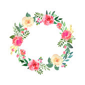 Colorful flowers wreath. Elegant floral collection with beautifu