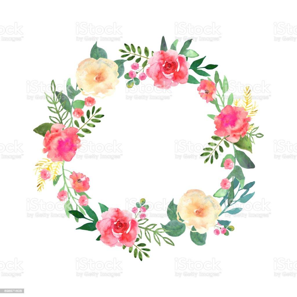 Guirlanda de flores coloridas. Coleção floral elegante com menin - ilustração de arte em vetor