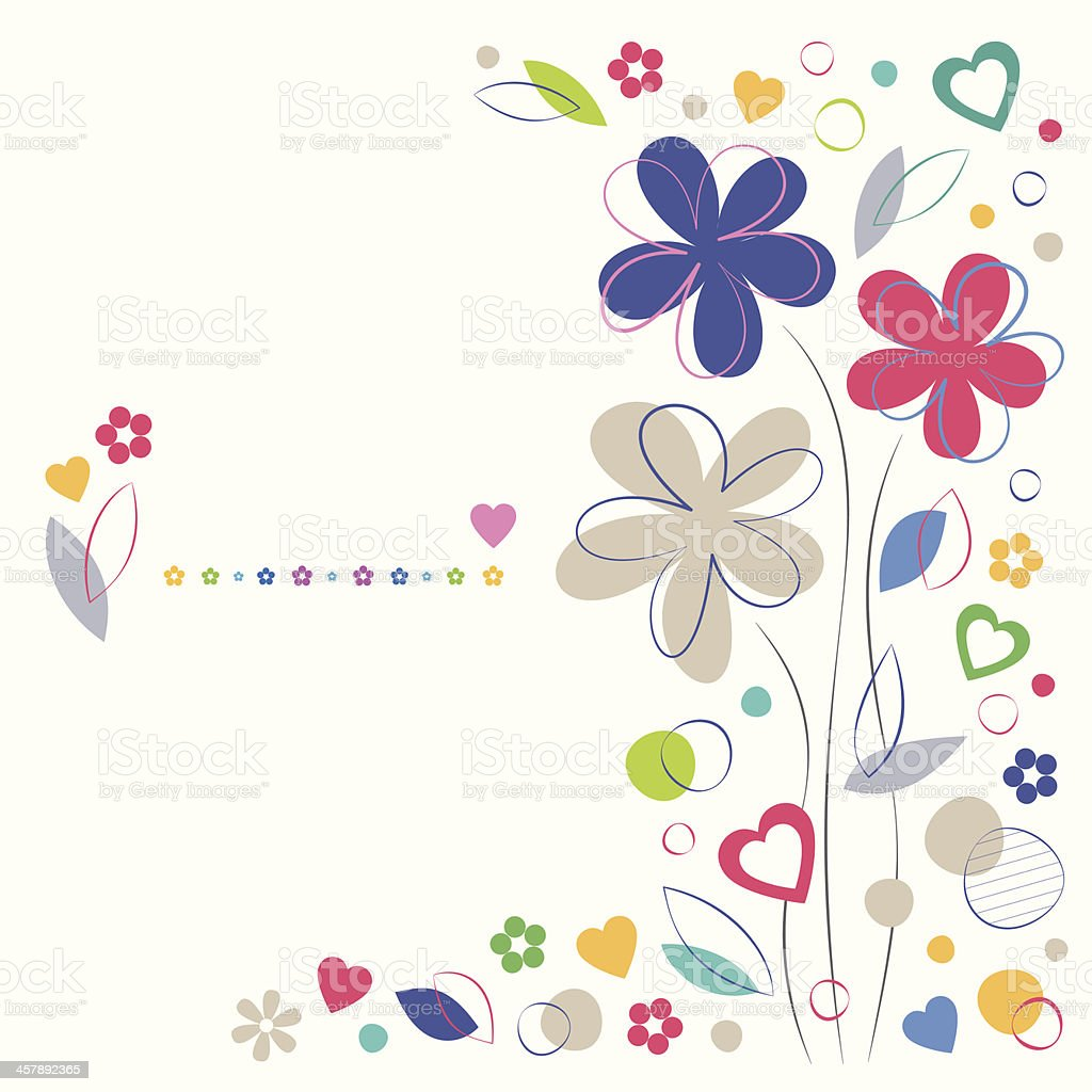 colorful flowery greeting card vector art illustration