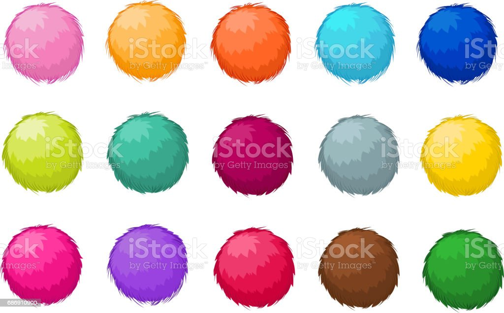 Colorful fluffy pompom fur balls isolated vector set vector art illustration