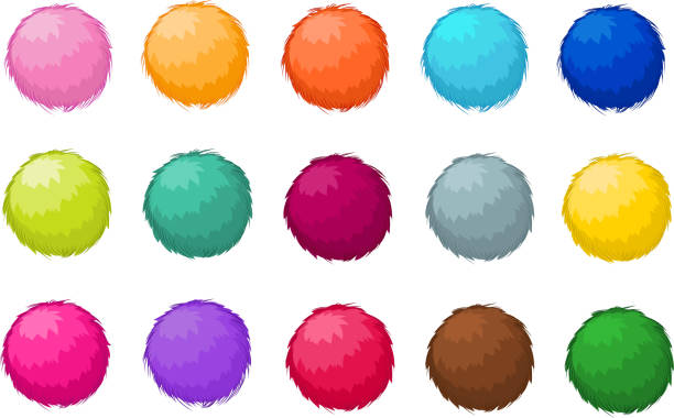 Colorful fluffy pompom fur balls isolated vector set Colorful fluffy pompom fur balls isolated vector set. Pompom ball fluffy, illustration of colored soft pompom fluffy stock illustrations