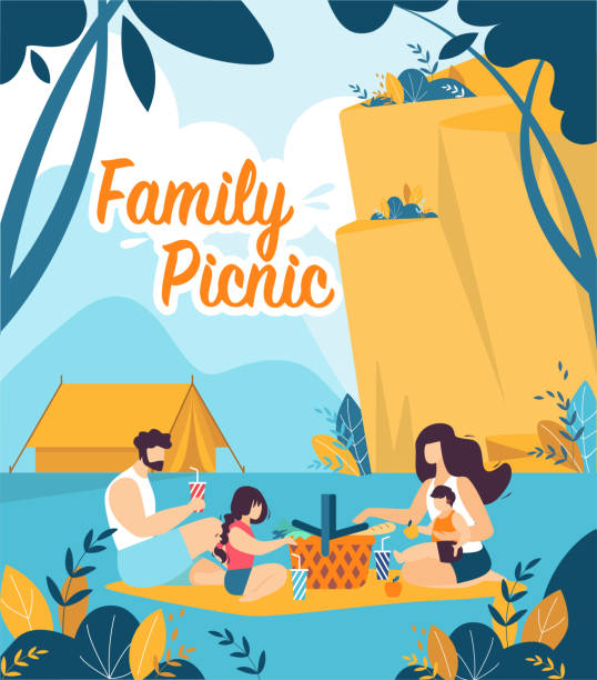 Colorful Flyer is Written Family Picnic Cartoon. Colorful Flyer is Written Family Picnic Cartoon. Parents with Children Sit on Picnic Mat against Mountains. Banner Hiking in Mountains and Family Dinner Together. Vector Illustration. picnic stock illustrations