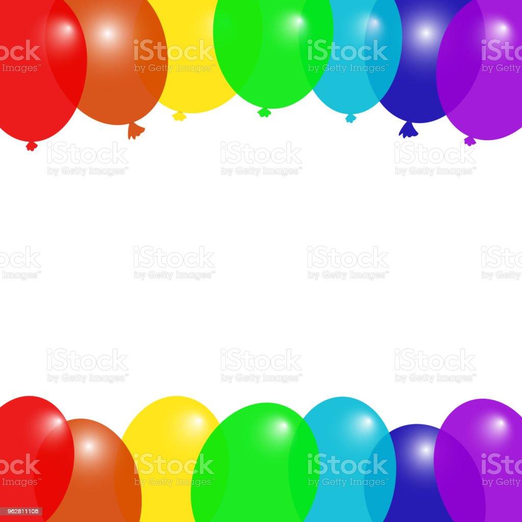 Bunten Fliegenden Ballons Rahmen Geburtstagplakatvorlage Platz